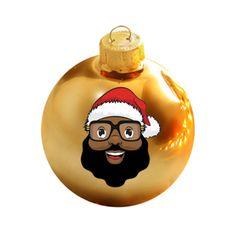 Black Santa Limited Edition Gold Glass Ball Ornament