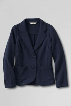 Women's Double Knit Button-front Blazer from Lands' End $70