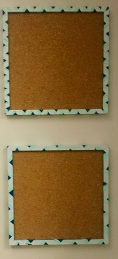DIY 12x12 cork boards. 1 package of 4 square cork boards from hobby loby, 2 (sale) metal 12x12 frames from hobby lobby, and spray paint and painters tape from Lowes.