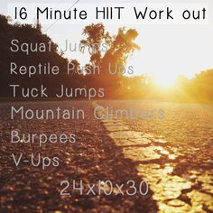 16 Minute Workout  24/10/30 24 Rounds, 10secs rest, 30secs work