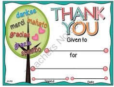 Thank You Certificate 6 with Matching Notecards from A Teacher in Paradise on TeachersNotebook.com (4 pages)  - Here is a great way to acknowledge our helpers and volunteers who give tirelessly in our classrooms and schools daily.
