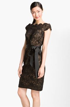 Embroidered Mesh Overlay Sheath Dress