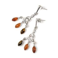 """Dangling Amber Droplets Earrings Item No. AM03183A01 $32.89 These dangling earrings feature two colors of genuine Russian amber, green and honey. The inclusion-rich amber is set in sterling .925 silver. These 1 3/4"" total length earrings have simple hooks, and the earrings dangle freely. The smaller droplets are about 5/16"" long."""