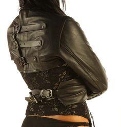 Leather straitjacket Bolero Body Binder Top Bondage Armbinder Harness Lock   eBay