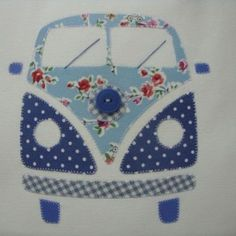 Kombi patchwork vintage _ going to make a bigger version for a quilt Patchwork Quilting, Applique Quilts, Embroidery Applique, Machine Embroidery, Sewing Appliques, Applique Patterns, Quilt Patterns, Sewing Patterns, Applique Ideas