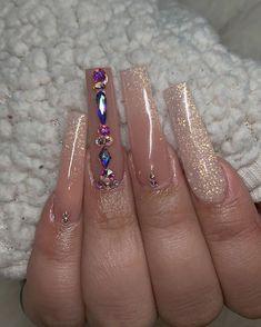 Classy Acrylic Nails, Acrylic Nail Tips, Bling Acrylic Nails, Flare Acrylic Nails, Flare Nails, Gorgeous Nails, Pretty Nails, Glow Nails, Acylic Nails