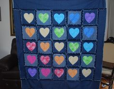 blue jean quilt | denim rag quilt | Recycled Blue Jeans