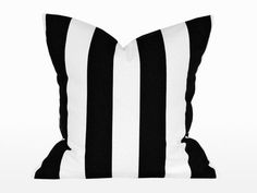 Decorative striped cushion cover, black & white