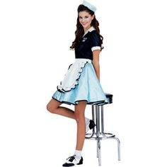 Roll into Halloween with this car hop waitress costume! This retro Halloween costumes and our adult costumes are swell. We have many car hop costumes for women! Halloween Costumes For Teens Girls, Fancy Costumes, Theme Halloween, Halloween Costumes For Girls, Costumes For Women, 1950s Costumes, Teen Girl Costumes, Group Halloween, Halloween Costume 50s Girl