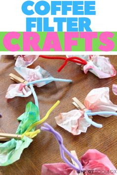 Use coffee filter crafts to help kids work on skills like fine motor skills, scissor use, bilateral coordination, and more. Forest Animal Crafts, Ocean Animal Crafts, Animal Crafts For Kids, Art Activities For Kids, Coffee Filter Crafts, Coffee Filter Flowers, Coffee Filters, Sea Creatures Crafts, Kids Work