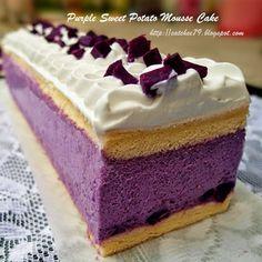 只想让自己快乐~: 幸福小蛋糕。紫番薯慕斯蛋糕 Purple Sweet Potato Mousse Cake