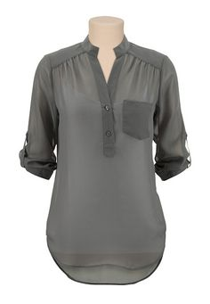 Sleeve Chiffon Blouse - Good shirt to wear at the office. Though I might go for the white rather than grey. Tomboy Fashion, Work Fashion, Modest Fashion, Fashion Outfits, Womens Fashion, Fashion Design, Fashion Ideas, Cute Business Casual, Tomboy Stil