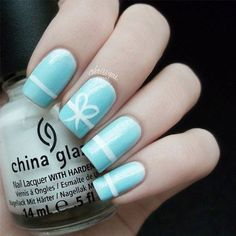 Tiffany Blue With Bow Nail Art 15 Must Try Blue Manicures For Summer