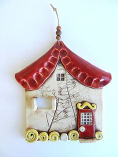 Clay house wall hanging, Ceramic house, Pottery house,Fairy house, House ornament