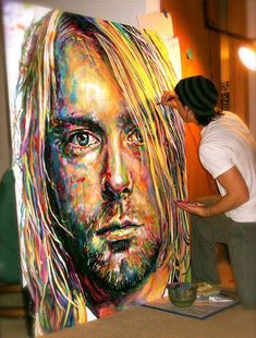 A perfect painting of Kurt Cobain…I don't know the artist's actual name, but I linked this to a site he posts on