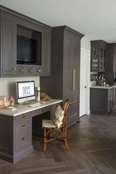 Kitchen Desk Ideas - Design, ideas, photos and inspiration. Amazing gallery of interior design and decorating ideas of Built In Kitchen Desk in your home or apartment, kitchens designs and ideas by elite interior designers. Decor, Floor Design, Home, Home Remodeling, New Homes, Home Office Design, Home Kitchens, Kitchen Desk Areas, Kitchen Desks