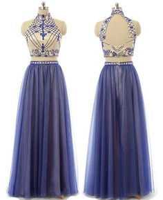 2 Piece Prom Gown,Two Piece Prom Dresses,Royal Blue Evening Gowns,2 Pieces Party Dresses,Tulle Evening Gowns,Formal Dress,Sparkly Evening Gowns For Teens PD20184264