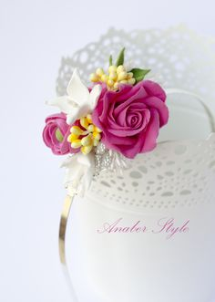 CLAY flowers - pink rose - Anaber style