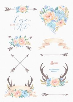 Love Kit Soft. Watercolor Clipart peonies arrows by OctopusArtis