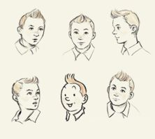 I love these simple drawings of Tintin's facial expressions. I am so going to draw some Tintins.