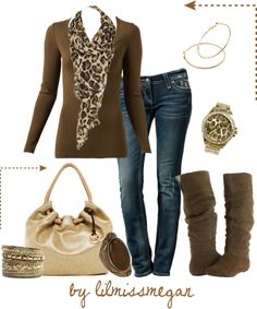 """Brown & Leopard"" by lilmissmegan on Polyvore"