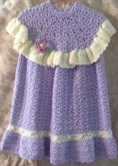 Niñas mano crochet vestido y sombrero