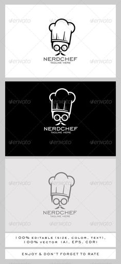 Nerd Chef Logo — Vector EPS #quality #funny • Available here → https://graphicriver.net/item/nerd-chef-logo/7791814?ref=pxcr