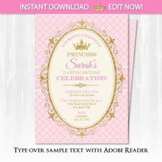 Princess invitation royal party digital free personalization on princess invitations princess birthday party por sugarshebang filmwisefo