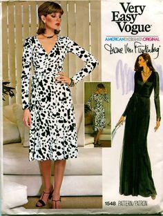 70s VOGUE DIANE Von FURSTENBERG Wrap Dress Pattern Sexy Maxi Dress American Designer Vogue 1548 Bust 34 UNCuT Vintage Womens Sewing Patterns by DesignRewindFashions on Etsy