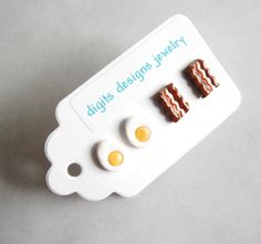 Earrings Bacon and Eggs handmade polymer clay button stud post earrings ( 4 ). $10.00, via Etsy.
