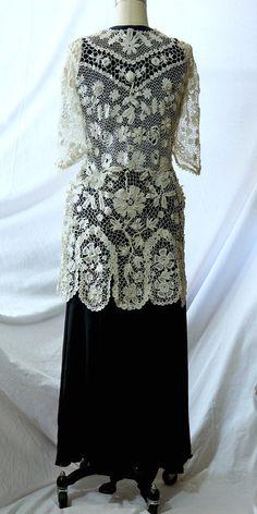 Antique Edwardian Irish Crochet Lace dress jacket, bridal, wedding S-M | eBay