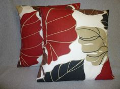 Funky Retro Designer Cushion Covers. Red, Black, Brown, Taupe leaf