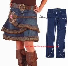 Recycle an Outgrown Pair of Jeans Into a Ruffled Denim Skirt Sewing Pattern