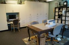 After: Garage Art Studio Remodel by Kuzak's Closet and Valet Custom Cabinets & Closets Garage Art Studio, My Art Studio, Home Studio, Studio Ideas, Grey Houses, Custom Cabinets, Art Studios, Closets, Garage Conversions
