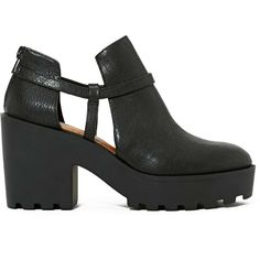 Shoe Cult Consequence Boot ($55) ❤ liked on Polyvore featuring shoes, boots, ankle booties, heels, footwear, black, black heel booties, chunky heel booties, black heeled boots and high heel ankle booties