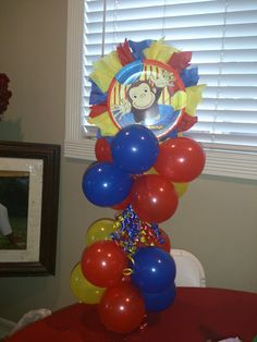 created by Yola's Creations Monkey Birthday, Baby First Birthday, 2nd Birthday Parties, Birthday Ideas, Curious George Party, Curious George Birthday, Balloon Centerpieces, Balloon Decorations, First Birthday Decorations