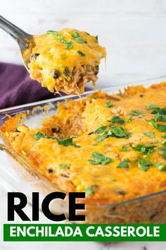 Rice Enchilada Casserole is a delicious and savory chicken enchilada casserole you can make any day of the week. Tender rice, lots of flavor, and affordable to make. If you are looking for a quick dinner idea give this recipe a try. #rice #enchilada #casserole #easy #dinner #homemade