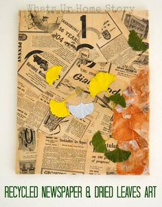 Make this vintage newspaper mixed media art on a canvas with dried ginkgo leaves, birch bark, newspapers, paint, Mod Podge www.whatsurhomestory.com
