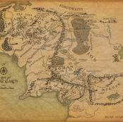 "Middle Earth Map 42"" by walkingraven1, Spoonflower digitally printed fabric"