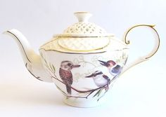 "Australian Bird Series ""Kookaburra""  Fine China Gold Edging Full Size Teapot"