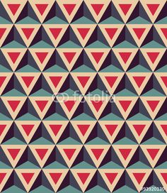 "Baixe o vetor royalty free ""Vector modern seamless colorful geometry pattern, 3D triangles, color red blue, abstract geometric background, trendy multicolored print, retro texture, hipster fashion design"" desenhado por sunspire com o menor preço no Fotolia.com. Navegue no nosso banco de imagens online barato e encontre vetores stock perfeitos para seus projetos de marketing!"