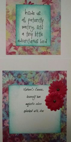 """Sentiments inside the two """"Little Bird"""" cards."""