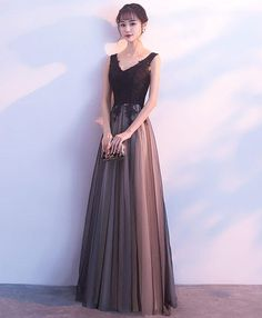 Black Prom Dresses Long V Neck Lace Tulle Sleeveless A Lien Floor Length Formal Evening Dress · Butterfly Love · Online Store Powered by Storenvy Black Evening Dresses, Black Prom Dresses, Trendy Dresses, Cute Dresses, Dress Black, Mode Outfits, Dress Outfits, Fashion Dresses, V Neck Prom Dresses