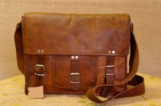 15 inch Leather Men's Laptop Messenger Satchel Shoulder Handbag Bags Handmade. $59.00, via Etsy.