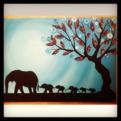#elephant #painting #buttontree  #art #diy #5kids #blue #turquoise