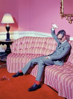 Miles Aldridge shoot for Wallpaper 15th Anniversary Issue. Suit by Tom Ford.