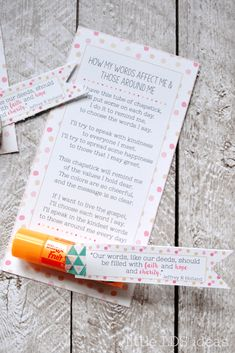 How My Words Affect Me & Those Around Me: Chapstick Handout idea from Little LDS Ideas Youth Group Activities, Church Activities, Speech Therapy Activities, Play Therapy, Youth Groups, Group Games, Ministering Lds, Cute Little Quotes, Yw Handouts