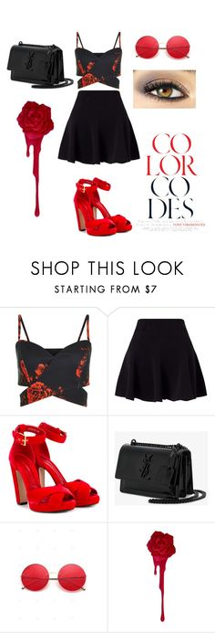 """""""black&red"""" by blackwendy ❤ liked on Polyvore featuring Miss Selfridge, Alexander McQueen, Yves Saint Laurent and Avon"""