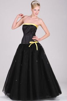 Black Ball Gown Strapless Floor-length Stretch Satin Quinceanera Dress P3031