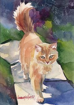 Print of Watercolor Painting Red Cat Kitty by creativeartistic